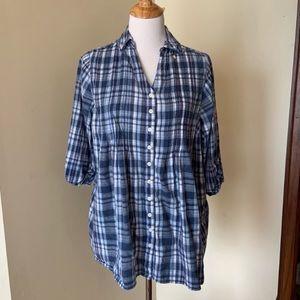 Dressbarn plaid button down shirt